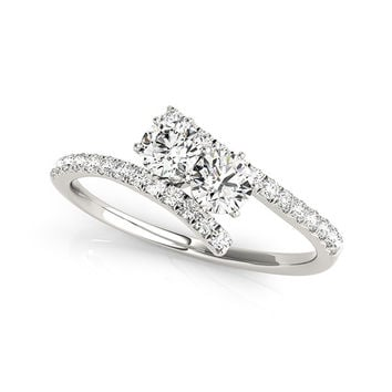 I Love Us™ Two-Stone Ring 1 2 ct tw Diamonds 14K White Gold