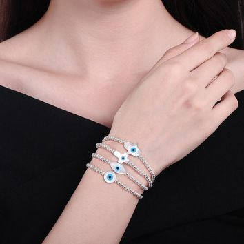 KALETINE Fashion 925 Sterling Silver Beads Bracelets MOP Shell Hamsa Hand of Fatima Evil Eye Cross Lucky Turkish Charm Bracelet