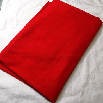 Basic Red Linen Look Tablecloth, 84 x 58 Inches Oval - Great For Christmas Decorating