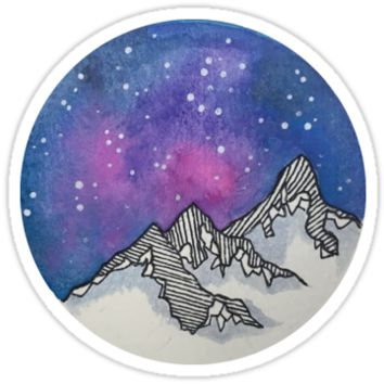Moon Galaxy Mountain Travel Wanderlust Stars Space Boho Hipster Print by Big Kidult