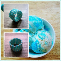 Cravings - Custom made Peyote stitch band ring - Summer Style - Modern and minimalist - Teal