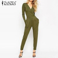 New Rompers Womens 2016 ZANZEA Jumpsuits Elegant Long Sleeve Solid Playsuits Sexy Ladies V Neck Backless Long Overalls Plus Size