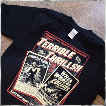 Rocky Horror Picture Show - Terrible Thrills!! A science fiction double feature 50's vintage style horror t shirt
