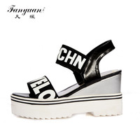 2017 New Women Sandals Casual Open Toes Mixed Colors Shoes Fashion Ankle Strap High Heel Platform Sandals Big Size 34-43