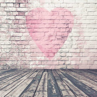 200*300CM(6.5*10ft) Valentine's Day Background Vinyl Backdrops for Photography Wood Floor Pink Sweetheart Brick Wall Photo Studio MR-0026