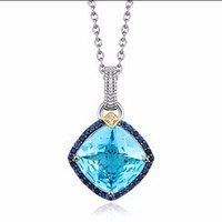 Blue Topaz, Iolite, and Diamond Cushion Pendant in 18K Yellow Gold and Sterling Silver
