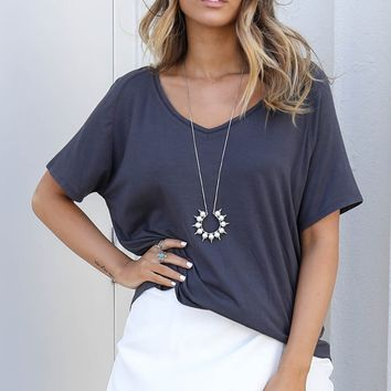 Love Myself Charcoal V-Neck Top