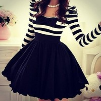 Fashion Striped chiffon bow long-sleeved dress