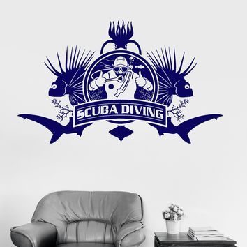 Vinyl Wall Decal Scuba Diving Diver Nautical Marine Art Decor Stickers Unique Gift (ig3260)
