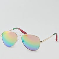 AEO Rainbow Aviator Sunglasses, Gold