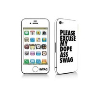 Iphone 4 Swag Skin Vinyl Sticker Full Body White/black