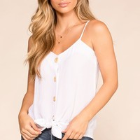 Paige White Button Tank Top