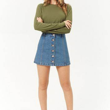 Button-Front Denim Skirt