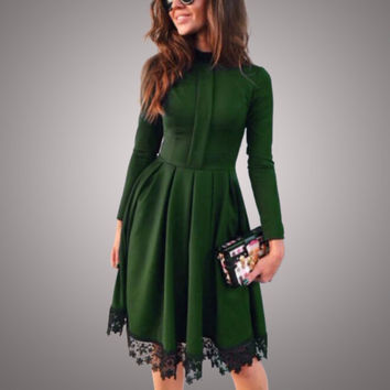 2017 Spring Summer New Fashion Women Sexy Long Sleeve Slim Maxi Dresses Green Party Dresses Hot Plus Size