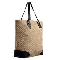 Gucci Women's Beige Canvas Leather Trimmed Guccissima Print Tote Shoulder Bag