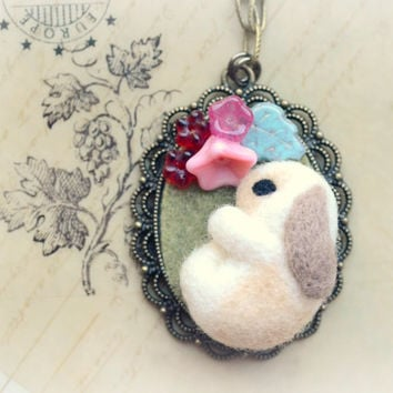 Handmade bunny pendant necklace, needle felted rabbit with flowers necklace, handmade felt rabbit cameo, whimsical jewelry, gift under 25