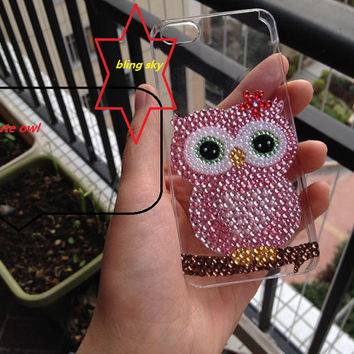 Handmade super Bling sparkle diamond crystal pearl Rhinestone iPhone 4 4s iPhone 5 5c 5s case cover samsung case colorful pink cute owl