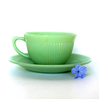 Vintage Fireking Jadeite Cup And Saucer, Jane Ray
