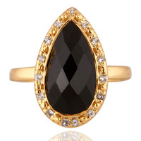 Shiny Gold Plated Sterling Silver Smoky Quartz And White Zircon Ring