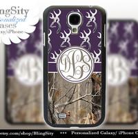 Monogram Galaxy S4 case S5 Browning Dark Purple Real Tree Camo Deer Personalized RealTree Samsung Galaxy S3 Case Note 2 3 Cover