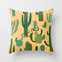 The Snake, The Cactus and The Desert Throw Pillow by David Penela