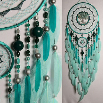 Large christmas gift Mint Dream Catcher Tree of life amazonite Dreamcatcher mint Dreamсatchers wall handmade amazonite mint tree of life