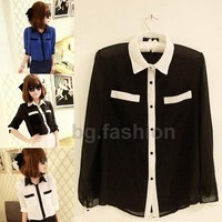 Casual Womens Top Button Shirt Chiffon Girls Blouse OL Shirts Sheer Tops 3 COLOR