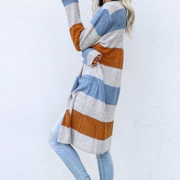 Round Trip Gray Stripe Duster Cardigan