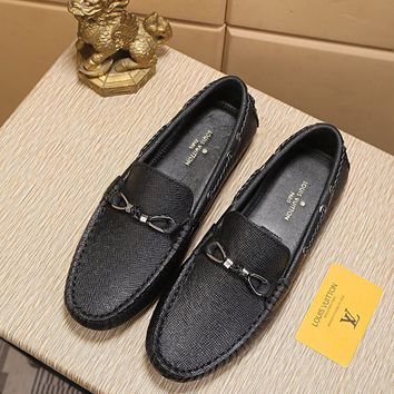 LV Louis Vuitton Men's 2019 New Vintage Leather Casual Loafer Shoes Black Best Quality