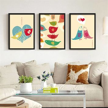 Nordic Style Home Decor Abstract Cartoon love bird canvas painting children room Posters And Prints Wall Art picture Frameless