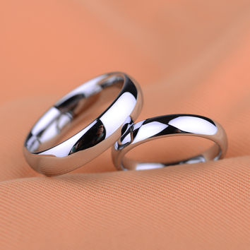Hot Size 4-12.5 Platinum Plated Tungsten Carbide Rings Wedding Bands for Couple Ring,can engraving(price is for one ring)