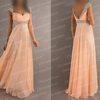 2014 Custom Long Elegant Satin Crystals Prom Dress Formal Sweetheart Handmade Bridesmaid Dress Fashion Evening Dress Wedding Dresses
