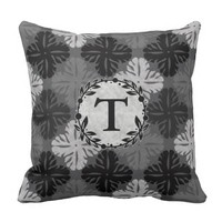Shades Of Gray Floral Outdoor Pillow