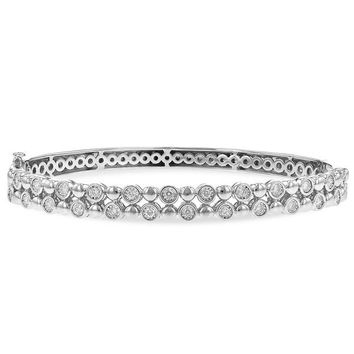 "Ben Garelick ""Champagne Bubbles"" Bezel Set Diamond Bangle Bracelet"