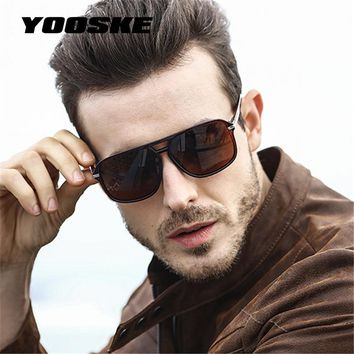 YOOSKE Classic HD Polarized Sunglasses Men 2018 Driving Brand Design Sun Glasses Man Mirror Retro High Quality Sunglass Goggles