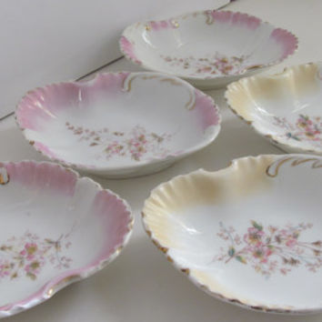 Antique Victorian Bone Dishes KPM Porcelain Pink and Yellow Roses German Porcelain KPM