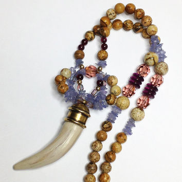 Horn Bone Style Tribal Necklace Natural Purple Tanzanite Jasper Beads Swarovski Crystal Boho Jewelry December Birthstone