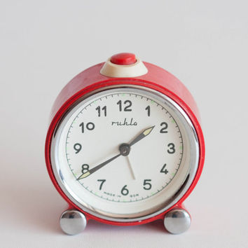 Mechanical Alarm Clock, German Alarm Clock, Red and White Ruhla Clock, Made in GDR, Manual Winding, 4th of July