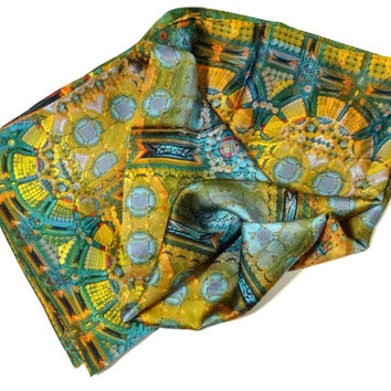 "36"" Square Silk Satin Scarf, ""Architectonic I"" Design, Blue and Gold  3D fractal, abstract scarves, Fashion scarves"