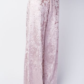 12PM by Mon Ami Crushed Velvet Palazzo Lounge Pants - Mauve