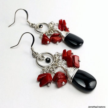 Red and Black Boho Chandelier Earrings, Deep Red Coral Chip Bead Earrings with Black Drop, Gypsy Bohemian Earrings, Silver Black Red Earring