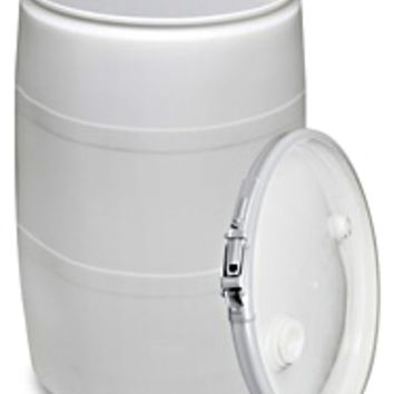 Plastic Drum with Lid - 55 Gallon, Open Top, Black S-9945BL - Uline