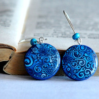 Shades Of Blue Polymer Clay Earrings, Resin Earrings, Polymer Clay Jewelry, Blue Earrings, Dangle Earrings