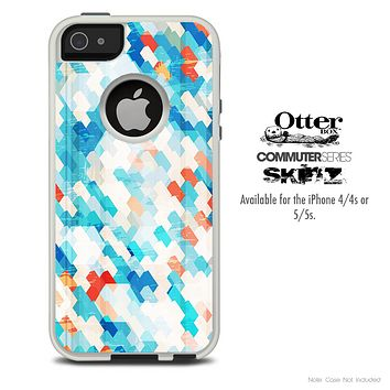 The Abstract Blue Tiled Skin For The iPhone 4-4s or 5-5s Otterbox Commuter Case