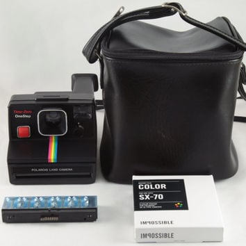 Polaroid SX-70 Time-Zero One Step Rainbow Stripe Instant Land Camera Tested & Working with Bag, Flash Bar, and Impossible Project Color Film