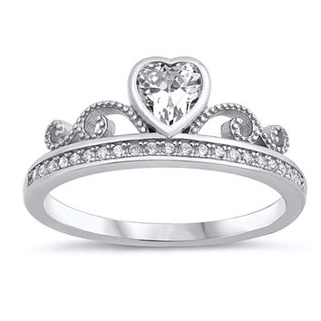 Bezel Heart Cubic Zircoina Crown Style Ring Sterling Silver
