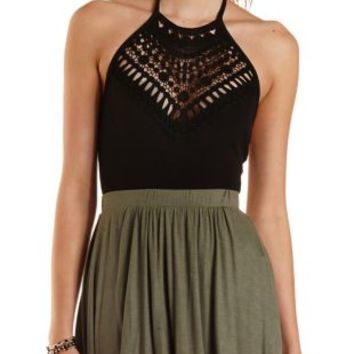Crochet High-Neck Halter Bodysuit by Charlotte Russe - Black