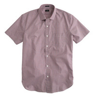 J.Crew Mens Ludlow Short-Sleeve Shirt In Red Tattersall