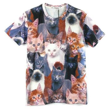 Realistic Kitty Cat Photo Collage Print Graphic Tee T-Shirt for Women