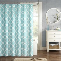 Madison Park Essentials Concord Fabric Shower Curtain (Blue)